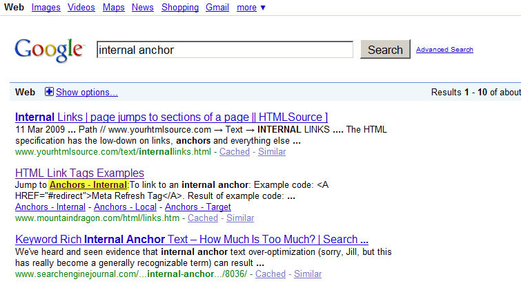 Google Results internal-anchors