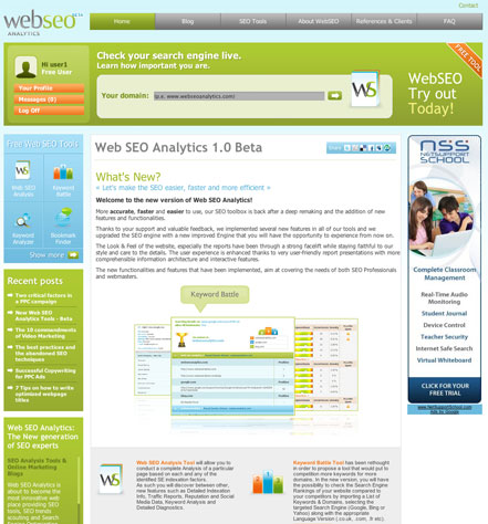 Web SEO Analytics Homepage